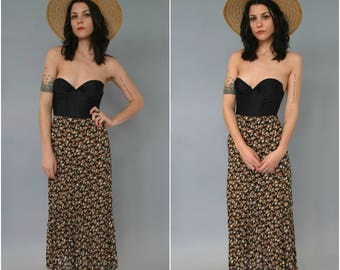 1990s high waisted accordion pleated floral maxi skirt
