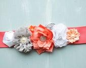 Maternity sash, coral, grey, and white maternity photo prop. Bridal Sash