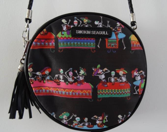 Mexican Skeleton Fiesta Black Round Handbag - Candy Skull Bag Clutch Horror Day of the Dead