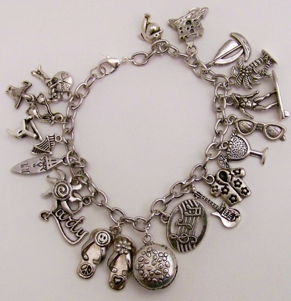 Jimmy buffett charm bracelet hamburger in paradise for Jimmy s fine jewelry
