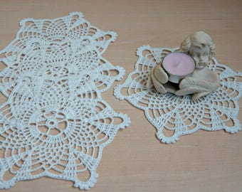 Handmade cotton white cup coaster, small doilie, flower, lace, home decor, diameter 7 inch, eco