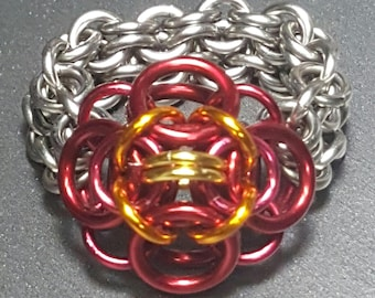 Red and Orange Flower Ring