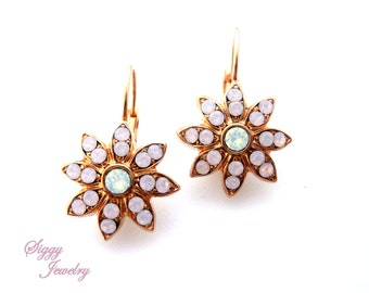 Swarovski Crystal Earrings, Rose Water Opal, Snowflake Flower, Lever Back, Rose Gold, Cluster Earrings, Siggy Jewelry, FREE SHIPPING