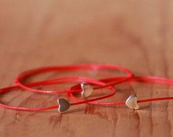 Red string bracelet, Heart bracelet, Kabbalah bracelet, Silver Heart bracelet, Amulet bracelet, Protection bracelet,Love Friendship Bracelet