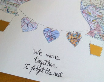 Anniversary Map Gift - Hot Air Balloon Art - Personalized Map Art - 11x14 Large Size - Design #42