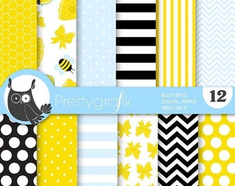 80% OFF SALE Honey bee digital papers, commercial use, scrapbook papers, background - PS686