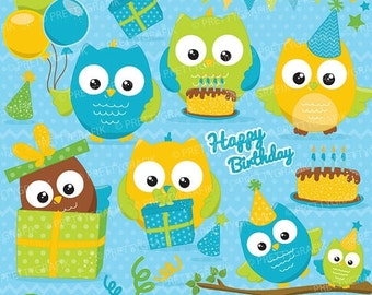 80% OFF SALE Birthday owls boys, clipart commercial use, vector graphics, digital clip art, digital images - CL650