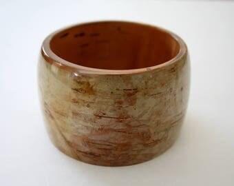Birch bark bangle, birch bracelet, birch bark bracelet, resin and bark bracelet, bangle, made in Canada