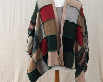Upcycled Woolly Wrap, Ruana, Blanket Shawl, Poncho. Patchwork. Recycled Wool Knitwear Autumn Country Colours. Handmade in UK Ethical Fashion