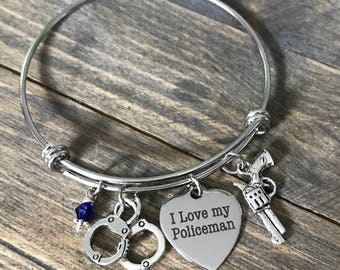 I Love My Policeman Bangle Bracelet Gift - Law Enforcement Police Officer Leo Cop Anniversary Gifts for Her
