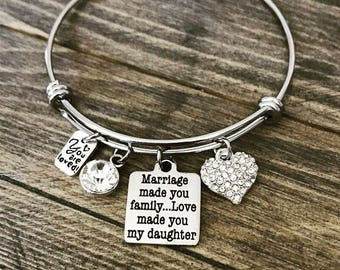 Marriage Made You Family, Love Made You My Daughter Charm Bangle Bracelet - Mothers Day Birthday Christmas Gift - Adoption Stepdaughter