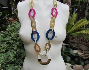 Buffalo Horn and Multi Colored Laquer Long drop Necklace Ovals