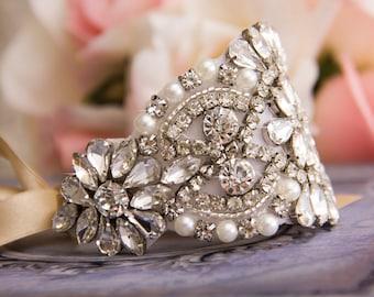 Rhinestone Wedding Bracelet, Crystal Bridal bracelet, Bridal Crystal Bracelet, Crystal Wedding Bracelet, Cuff Bracelet, Rhinestone Bracelet