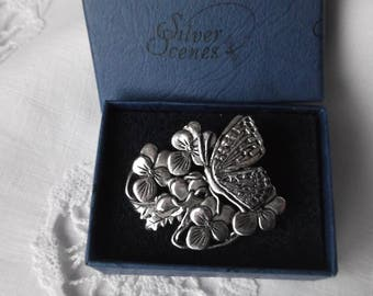 Boxed Vintage Butterfly and Violets Brooch, Silver Scenes Brooch , Butterfly Brooch, MASJ Brooch , Sterling Silver on Pewter Brooch