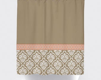Damask and Greek Key Shower Curtain | Tan, Burnt Orange, White OR ANY Colors | Standard & Extra Long Sizes | Custom Home Decor | Kid