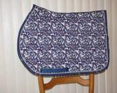 Custom Quilted English Saddle All Purpose, AP, pad, Unicorn Romp, handmade at Pegasusthreads.