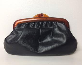 Vintage 80s Clutch/ Black Leather Lucite Wallet/ Makeup Bag