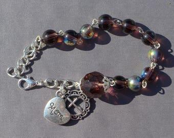 Mom - 8mm Amethyst AB Glass - February One Decade Rosary Bracelet