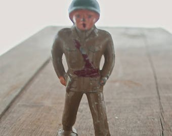 Antique Vintage Lead Toy Barclay Pod Foot Soldier Officer Figurine B-235 -  1940s