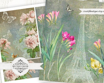 Vintage Cards, Scrapbooking/Decoupage paper. Set of 4. Digital download for scrapbooking and packaging.