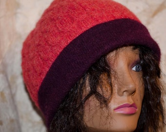 Upcyled Sweater Hat Orange and Burgandy *So Shabby Chic * Gift for Her * OOAK * Oh so Soft Cashmere and Angora