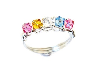 Family Ring, Silver Mother's Ring, custom mothers ring, grandma ring, gift for her, birthstone ring, wire wrapped ring