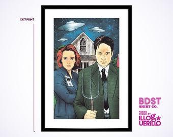 X-Files American Gothic Print // Agent Fox Mulder Agent Dana Scully Poster // Original Wall Art Design