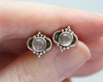 Moonstone Stud Earrings,  Sterling Silver Studs, Gemstone Stud Earrings, Pierced Ears, Moonstone Earrings