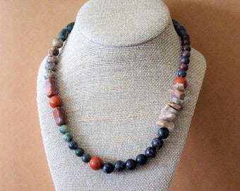 Multi-Jasper (eight different Jaspers) Natural Stone/Gemstone One-of-a-kind Necklace by MtnGlen - 'Jumping Jasper'