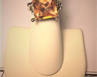 Pink Tourmaline and Cubic Zirconia Ring Size 6