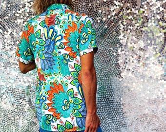 Men's Button Up Shirt, ZULU Print Short Sleeved Men's Shirt - Men's CHRISTMAS Gift, Crandokta