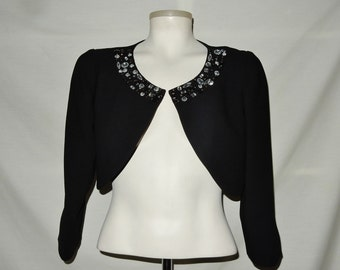 Sz  4 4P Jeweled Shrug - Black - Jessica Howard - Bolero Jacket