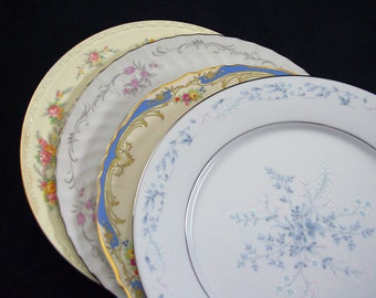 Mismatched China Dinner Plates 4 Piece Set, Vintage Mixed Patterns Tea Party, Wedding Decor & Fine Dining Dinnerware D42