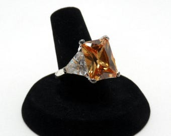 vintage cubic zirconia ring - size 7 ring, sterling silver