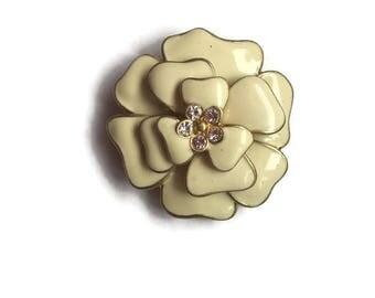 Vintage brooch  Necklace brooch  Gold tone  Enamel beige  Brooch vintage  Rhinestone brooch  Vintage jewelry 1960's Flower brooch Brooch pin