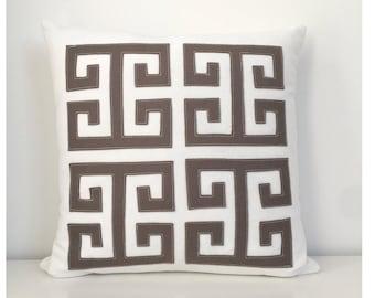 "Greek Key Pillow in Warm Grey Felt and Creamy White Twill, 18"" / large"