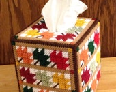 Autumn Leaves Tissue Box Cover // Plastic Canvas Leaves // Autumn Decor // Needlepoint Canvas // Fall Leaves Decor // Home Decor
