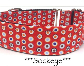 Martingale Dog Collar, Buckle Collar, Adjustable Dog Collar, Custom Dog Collar, Geometric dog collar, Red Dog Collar, Dots, Sockeye