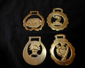 Four Vintage Horse Brass  Medallions Made in England  Lot H