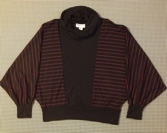 1980's, Dolman sleeve, jersey knit, cowl neck top, in black, with red stripes, Women's size Large