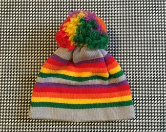 1980's, wool, pom pom, ski hat, Adult size