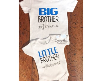 Big brother little brother shirt set with names Brother shirts siblings pregnancy announcement