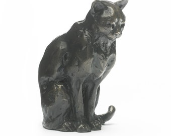 Foundry Bronze Sitting Cat Sculpture by Sue Maclaurin (Solid Bronze).  Limited Edition 250. Beautifully gift boxed.