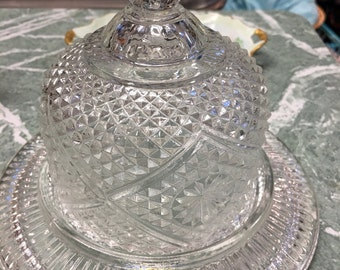 Vintage Pressed Glass Covered Butter Cheese Dish