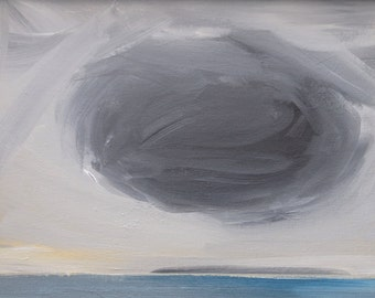 Black Cloud Original Painting Depression Small Art Acrylic on Canvas Cloudscape Contemporary Art