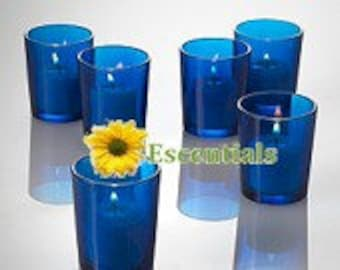 Blue Votive Candle Holders