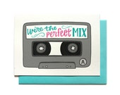 Valentine Card - Valentines Day Card - Valentine card him - Love Card - Mix Tape - Cassette tape - Perfect Mix - Anniversary Card - LV33