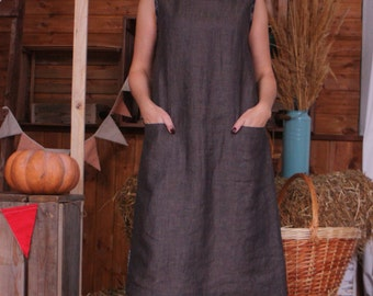 Linen dress /Sleeveless dress /Dress / melange brown / Summer Dress / Natural linen / dress