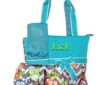 Personalized Diaper Bag   Owl Diaper Bag   Girls Diaper Bag   Monogram Diaper Bag   Baby Diaper   Gray Chevron Aqua Trim Baby Shower Bag