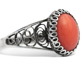Mediterranean Sea Red Coral Ring Art Nouveau Antique Jewelry